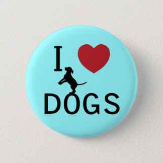 i heart dogs 6 cm round badge