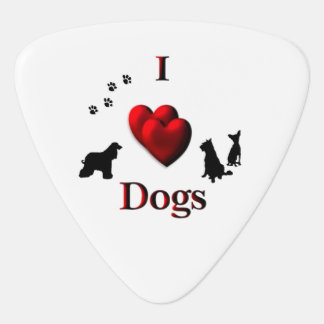 I Heart Dogs Guitar Pick