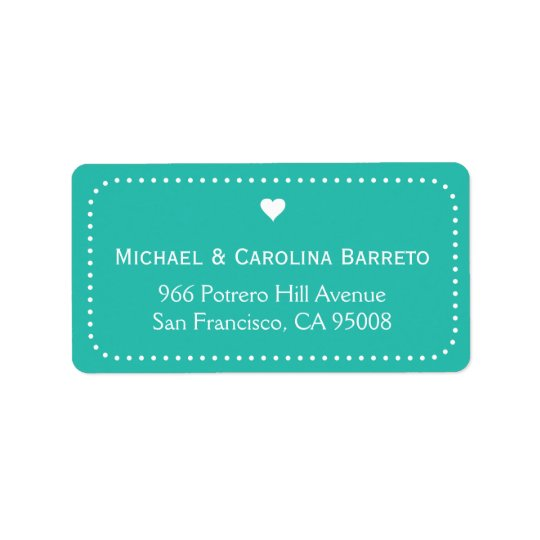 I Heart Dots - Teal Address Label