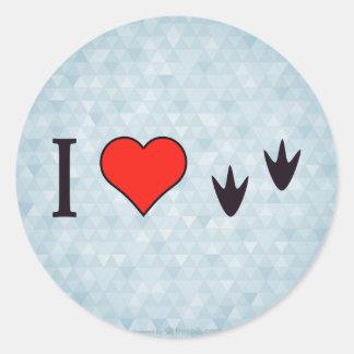 I Heart Ducks Round Sticker