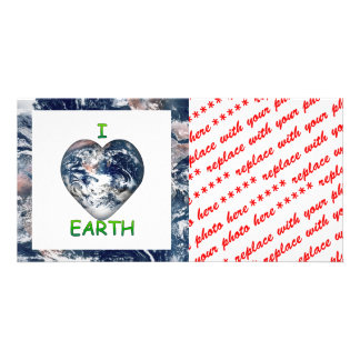 I Heart Earth I ♥ Earth With Earth Trimming Photo Greeting Card