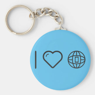 I Heart Earth Phones Basic Round Button Key Ring