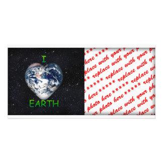 I Heart Earth Universe Background Custom Photo Card