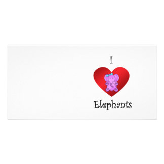 I heart elephants in purple and blue personalized photo card