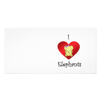 I heart elephants in yellow and purple personalized photo card