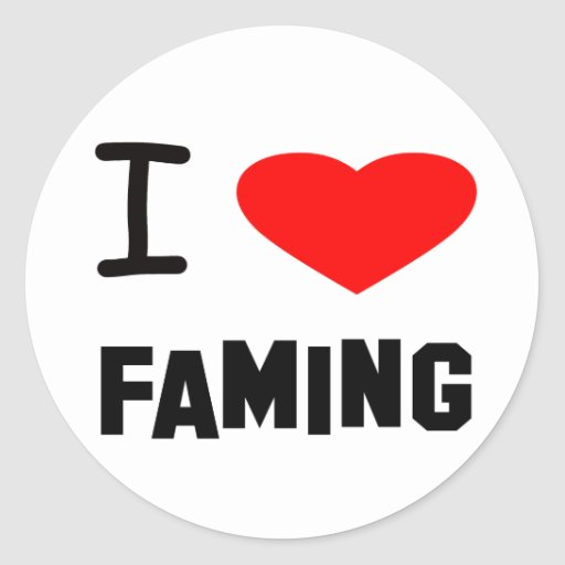 I Heart faming Stickers