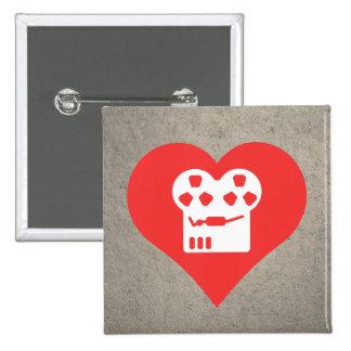 I Heart Film Projectors Icon 15 Cm Square Badge