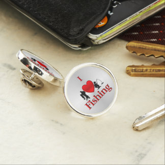 I Heart Fishing Lapel Pin