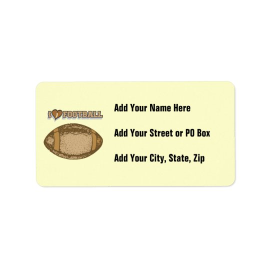 I Heart Football T-shirts and Gifts Address Label