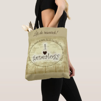 "I ""heart"" Genealogy Sepia Tones with Trees Tote Bag"