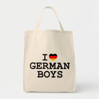I Heart German Boys Grocery Tote Bag