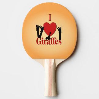 I Heart Giraffes Ping Pong Paddle