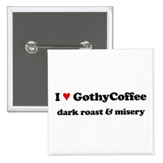 I heart goths coffee 15 cm square badge