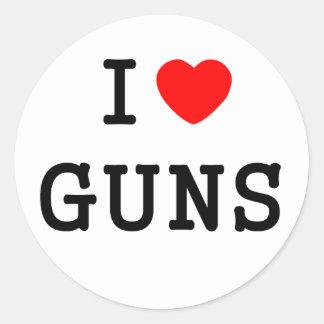 I Heart Guns Classic Round Sticker