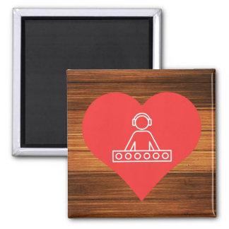 I Heart Headphones Icon Square Magnet