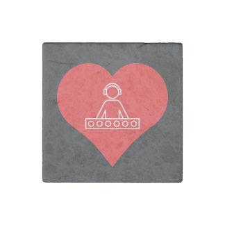 I Heart Headphones Icon Stone Magnet