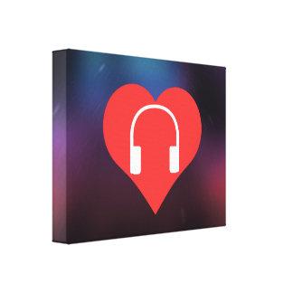 I Heart Headphones Vector Canvas Print
