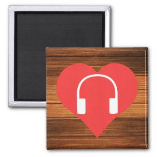 I Heart Headphones Vector Square Magnet