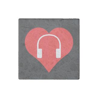 I Heart Headphones Vector Stone Magnet