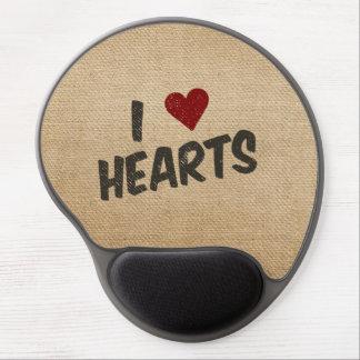 I Heart Hearts Burlap Gel Mousepads