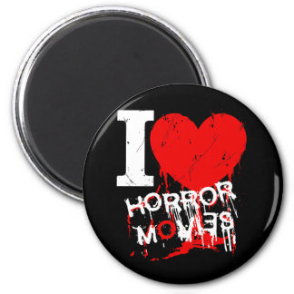 I HEART HORROR MOVIES 6 CM ROUND MAGNET