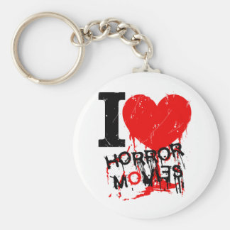 I HEART HORROR MOVIES BASIC ROUND BUTTON KEY RING