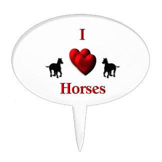 I Heart Horses Design Cake Pick