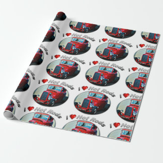 "I Heart Hot Rods - Matte Wrapping Paper, 30"" x 6' Wrapping Paper"