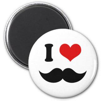 I Heart I Love Black Mustache 6 Cm Round Magnet