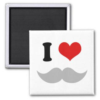 I Heart I Love Gray Mustaches Square Magnet