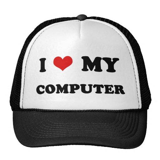 I Heart I Love My Computer Mesh Hat