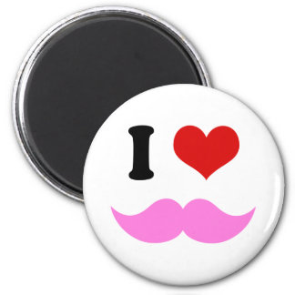 I Heart I Love Pink Mustaches Refrigerator Magnets