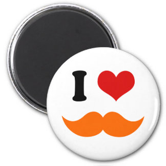 I Heart I Love Red Orange Mustache 6 Cm Round Magnet