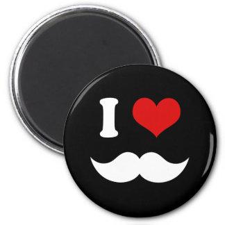 I Heart I Love White Mustaches 6 Cm Round Magnet