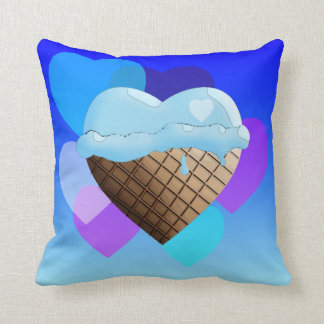 I (Heart) Ice Cream! Blue Cushion