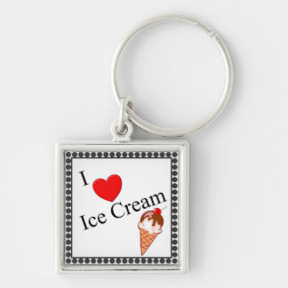 I Heart Ice Cream Silver-Colored Square Key Ring