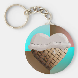 I (Heart) Ice Cream! Vanilla Basic Round Button Key Ring