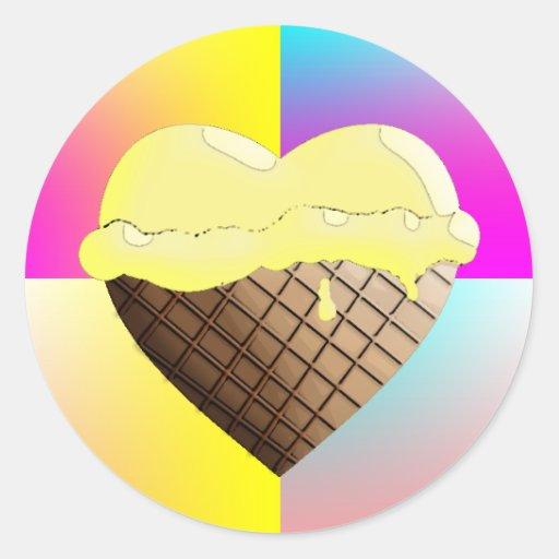 I (Heart) Ice Cream! Yellow Sticker