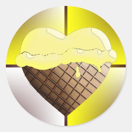 I (Heart) Ice Cream! Yellow Stickers