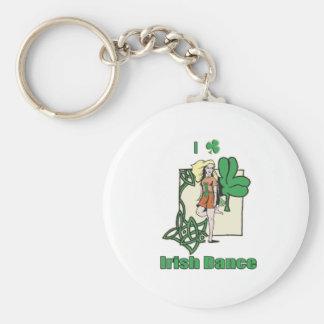 I heart Irish Dance Clover Basic Round Button Key Ring