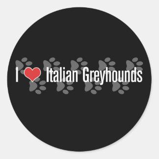 I (heart) Italian Greyhounds Classic Round Sticker