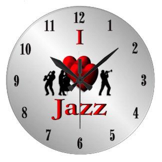 I Heart Jazz Music Silver Large Clock