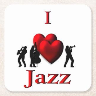 I Heart Jazz Square Paper Coaster