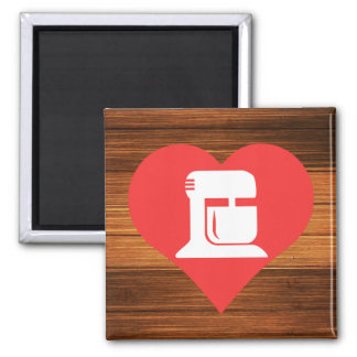 I Heart Kitchen Appliances Icon Square Magnet