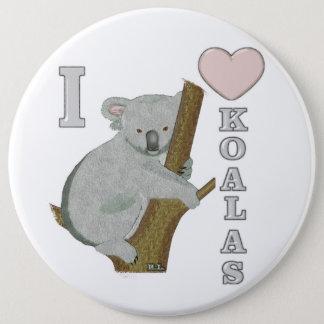 I Heart Koalas Fuzzy Animals 6 Cm Round Badge