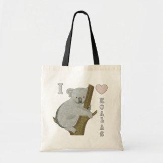 I Heart Koalas Fuzzy Animals AUSTRALIA Budget Tote Bag