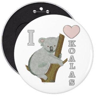 I Heart Koalas Fuzzy Animals Pinback Buttons