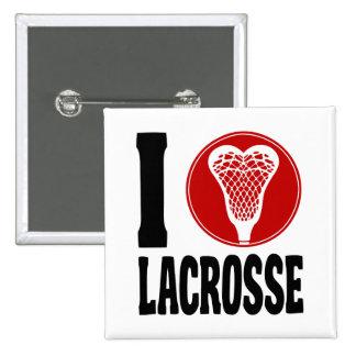 I Heart Lacrosse 15 Cm Square Badge