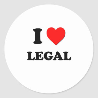 I Heart Legal Round Stickers