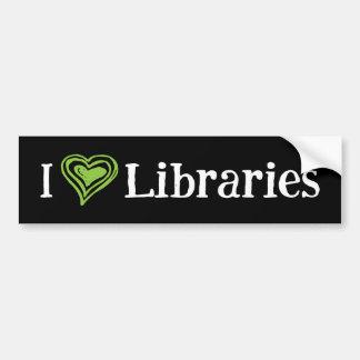I [Heart] Libraries (black/green) Bumper Sticker